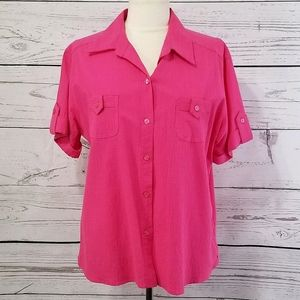 White Stag Cuffed Short Sleeve Button Down Top
